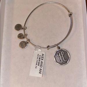 "Silver Alex and Ani Adjustable ""H"" bracelet"